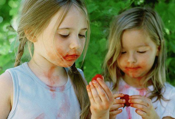девочки едят ягоды