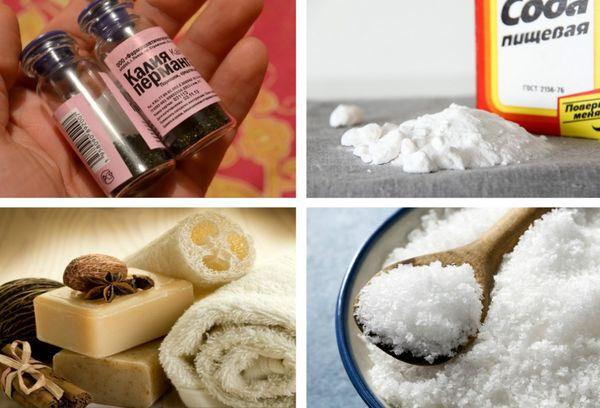 мыло, марганцовка, сода и соль