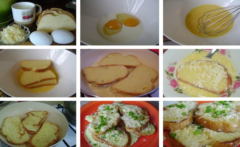 Гренки с яйцом, молоком и сыром