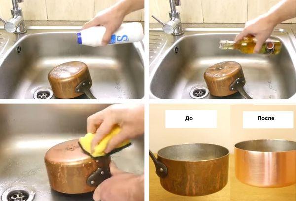 Чистка пригоревшей кастрюли