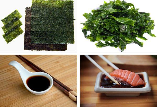 водоросли и соевый соус для роллов
