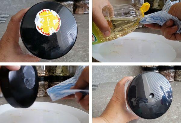 Удаление наклейки маслом