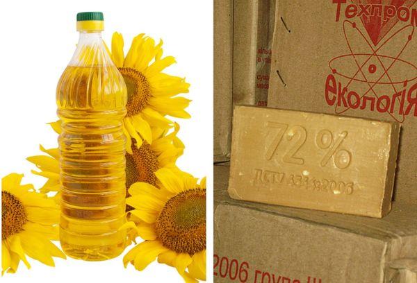 Растительное масло и хозяйственное мыло