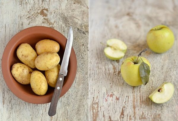 Зеленые яблоки и картофель
