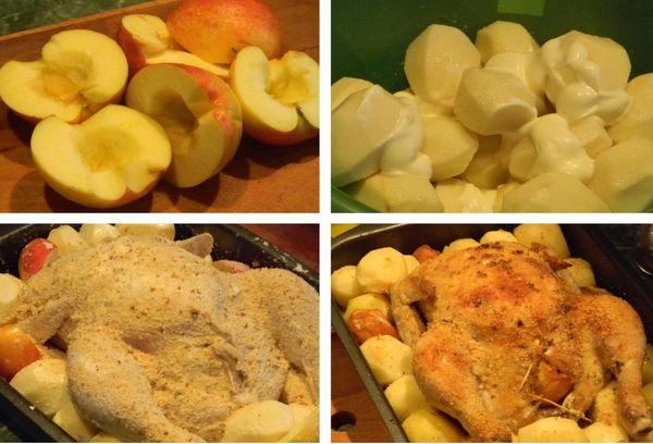 Фаршированная курица с картошкой