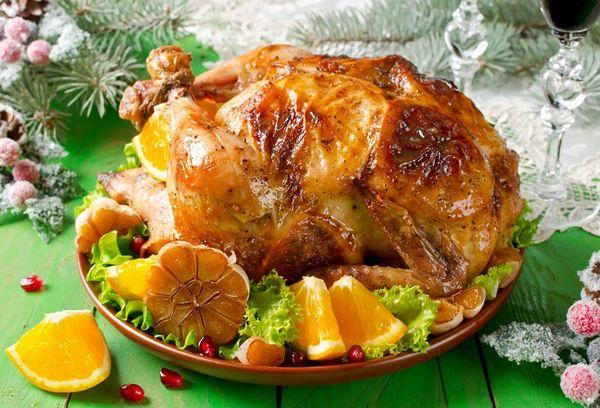 Фаршированная курица с апельсинами