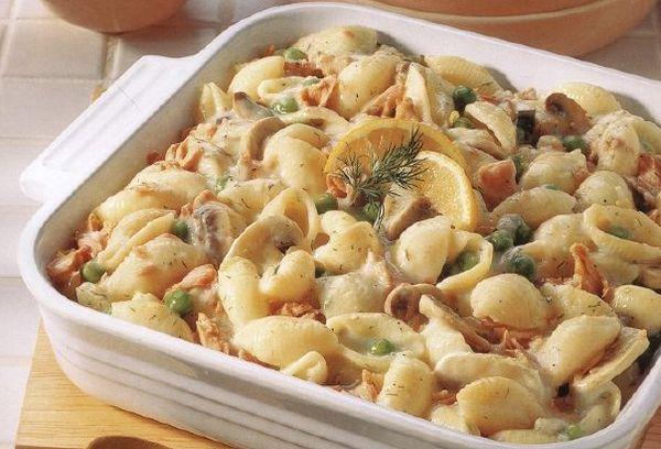 Рецепт запеченных макарон с курицей и грибами