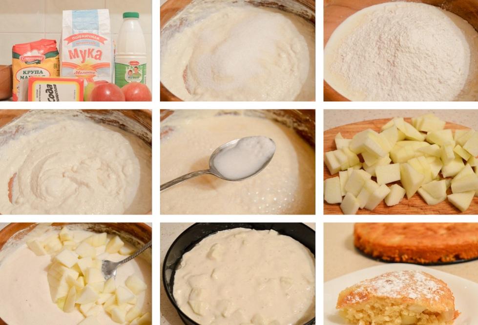 Приготовление шарлотки с кефиром