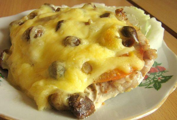 куриное мясо с грибами и сыром