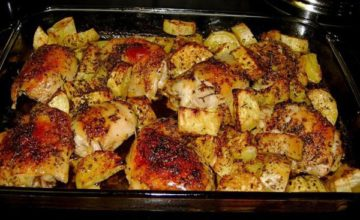 Как приготовить в духовке вкусные куриные бедрышки с картошкой