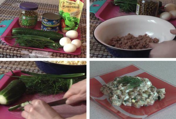 Приготовление салата из свежих огурцов