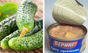Несложные рецепты салата из консервированного тунца и свежих огурцов