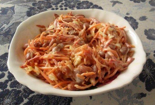 Салат с морковью и курицей
