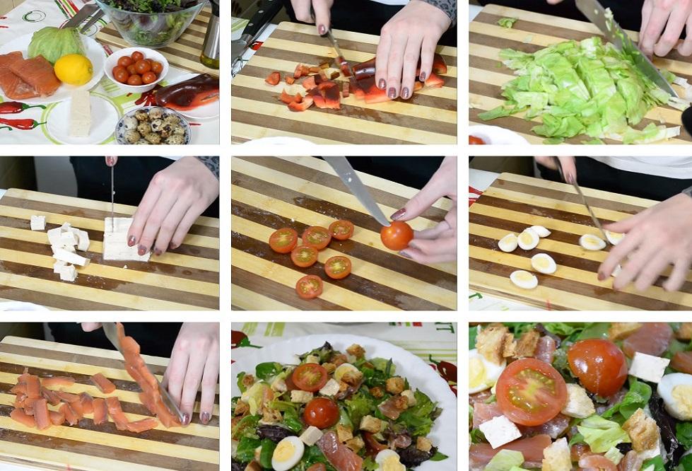 Приготовление салата с рыбой