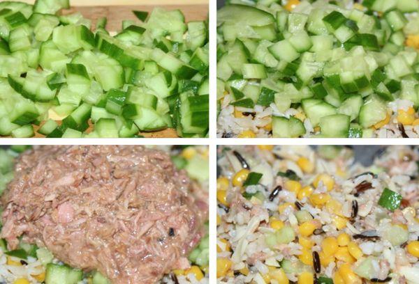 Рыбный салат с огурцами