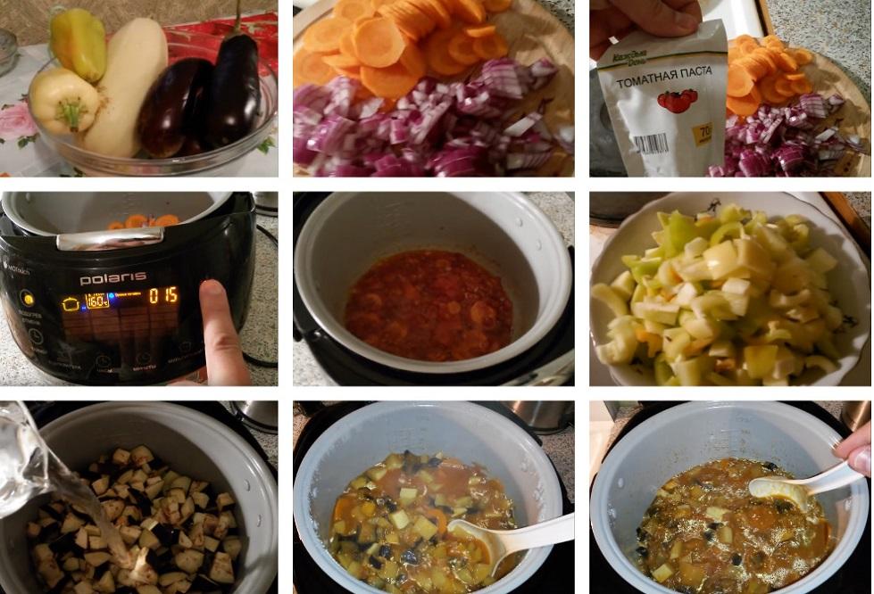 Приготовление рагу из баклажанов и кабачков