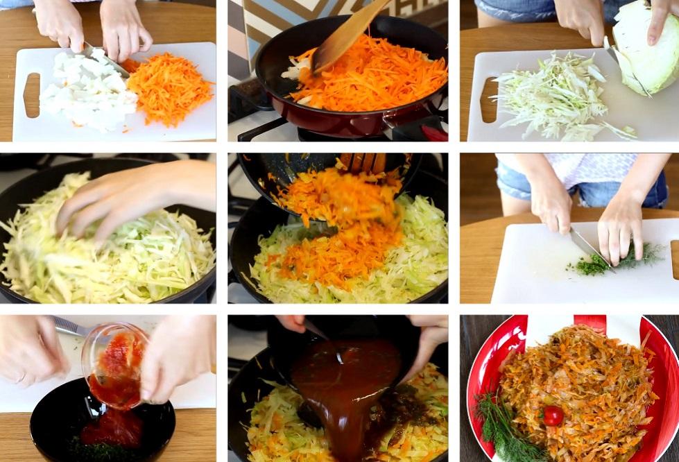 Приготовление капусты с овощами