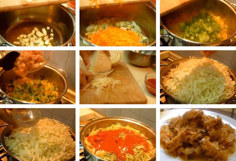 Приготовление капусты с куриным мясом