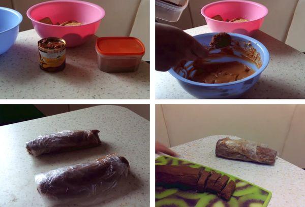 Шоколадная колбаска с варенной сгущенкой