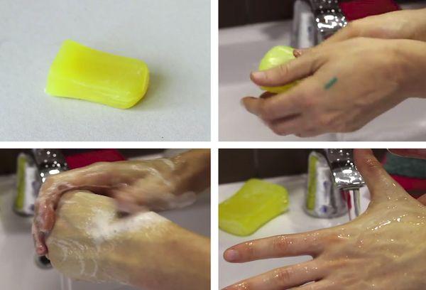 Удаление зеленки мылом