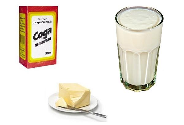 Масло, кефир и сода