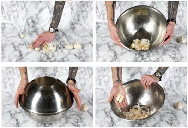 Очищение чеснока в миске
