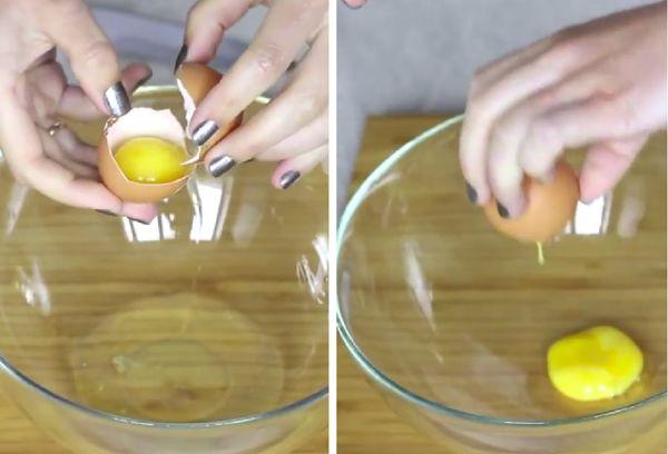 Разделение яйца пластиковой руками