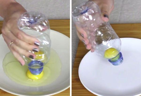 Разделение яйца пластиковой бутылкой