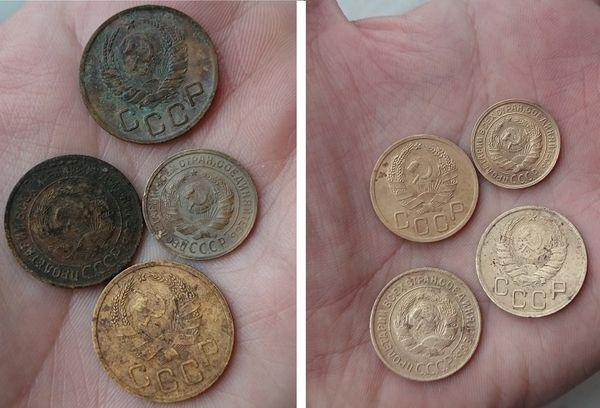 Монеты до и после чистки