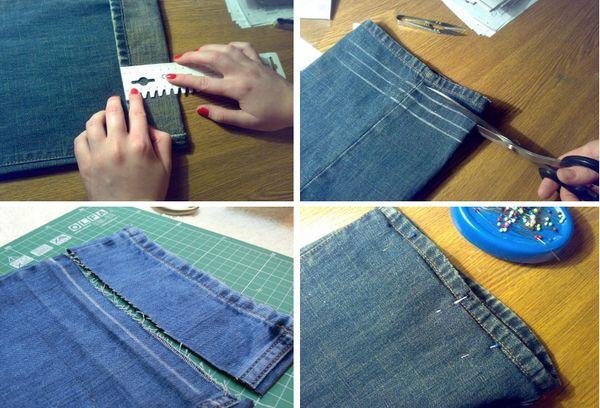 Обрезание и подшив брюк