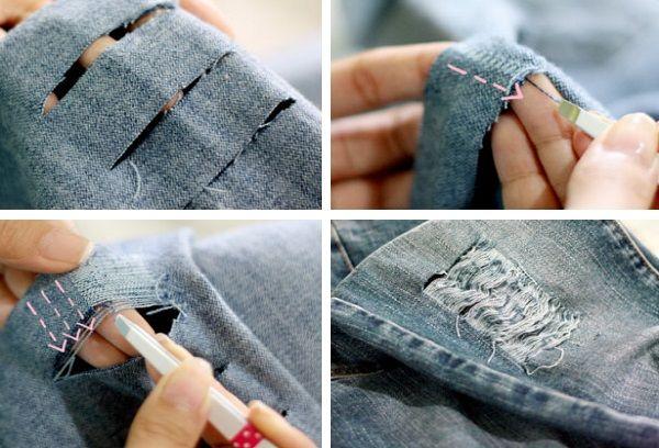 Создание дыр в джинсах