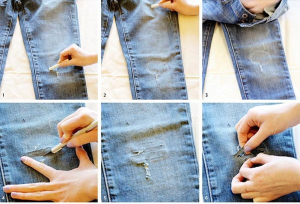 Надрезы на джинсах