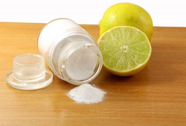 Сода + лимонный сок.