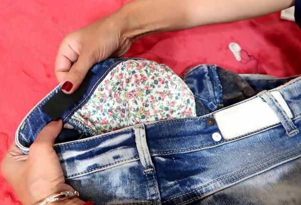 Вставка резинки в пояс штанов