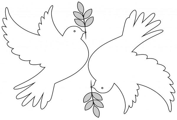 Белые голуби на 9 мая шаблон для вырезания