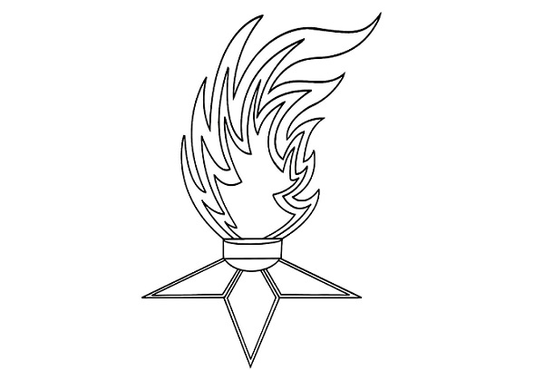 Украшение окна на 9 Мая – вечный огонь