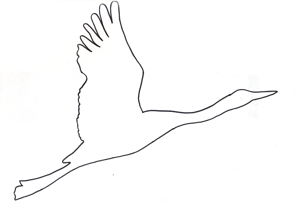Шаблон для вырезания журавли