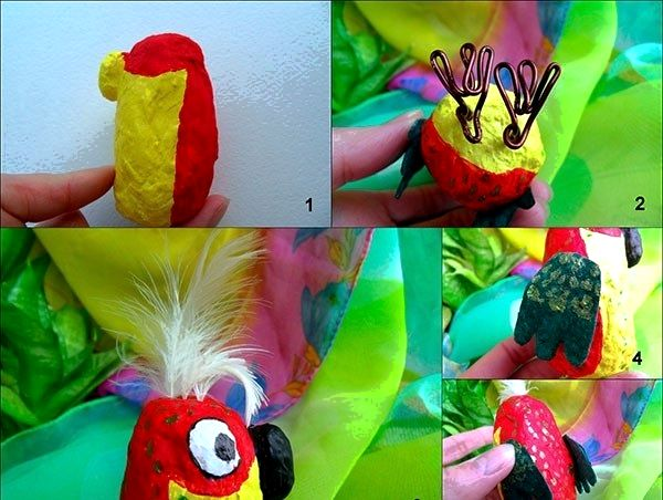 Поделка попугай из ваты