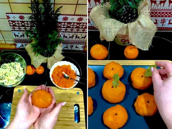 Формировка салата в мандарины