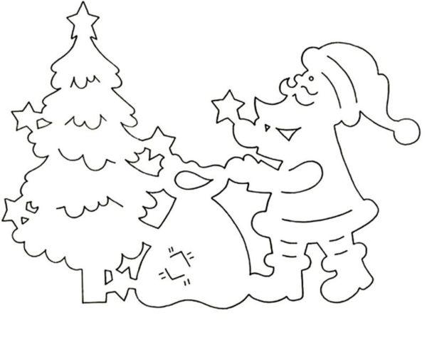 Трафарет Деда мороза