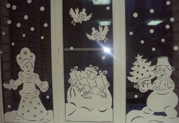 Новогодние композиции на стекло