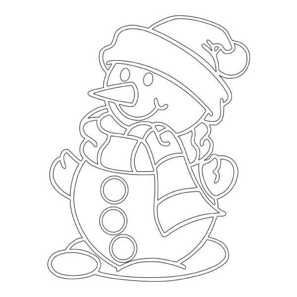 Трафарет снеговика на Новый год