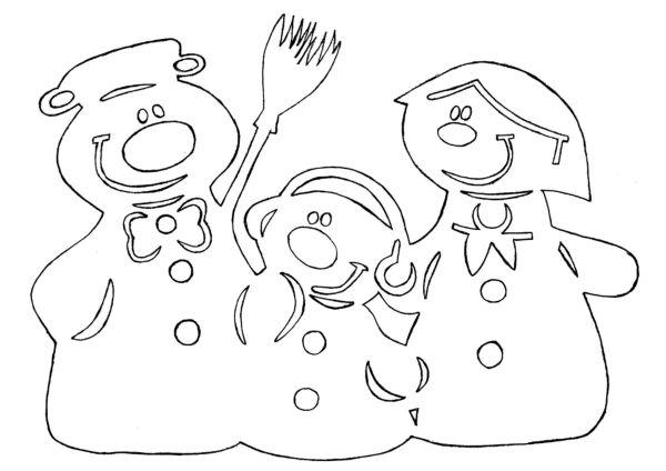 Трафарет новогоднего снеговика