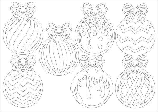 Новогодние трафареты шарики