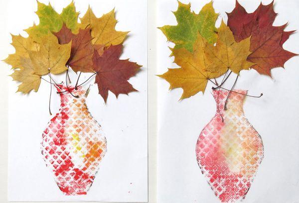Изготовление поделки из листьев на бумаге