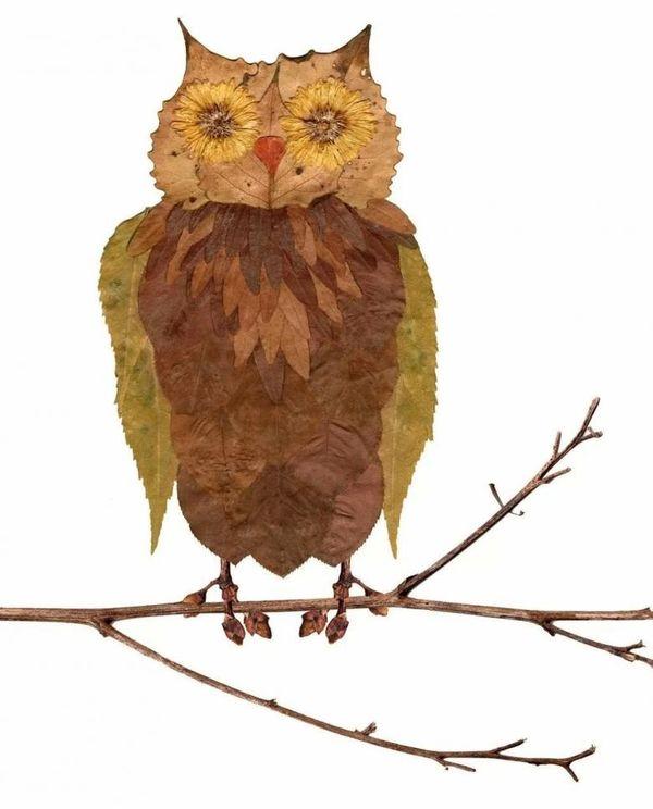 Поделка из листьев сова